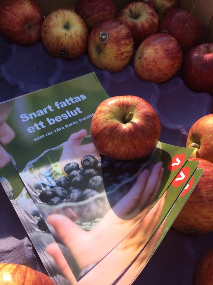Äpplen och flygblad